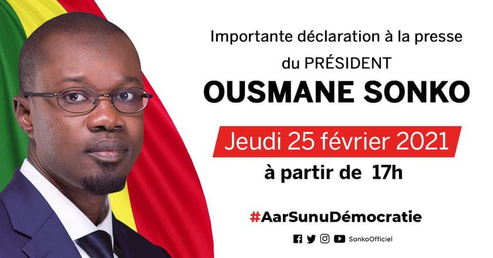 Urgent Suivez en direct la déclaration de Ousmane Sonko