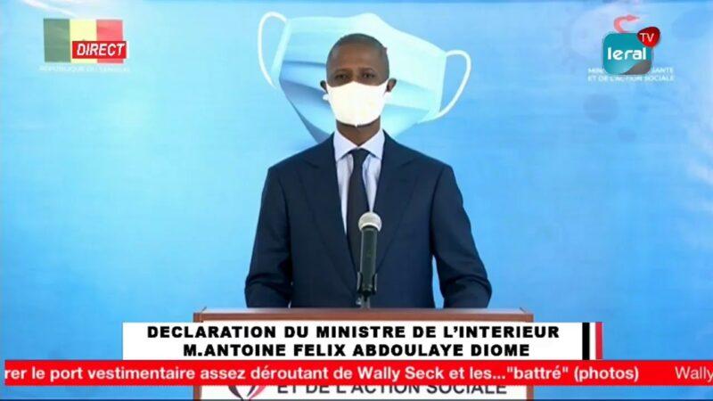 Revivez la Déclaration du Ministre de l'Intérieur M. Antoine Félix Diome