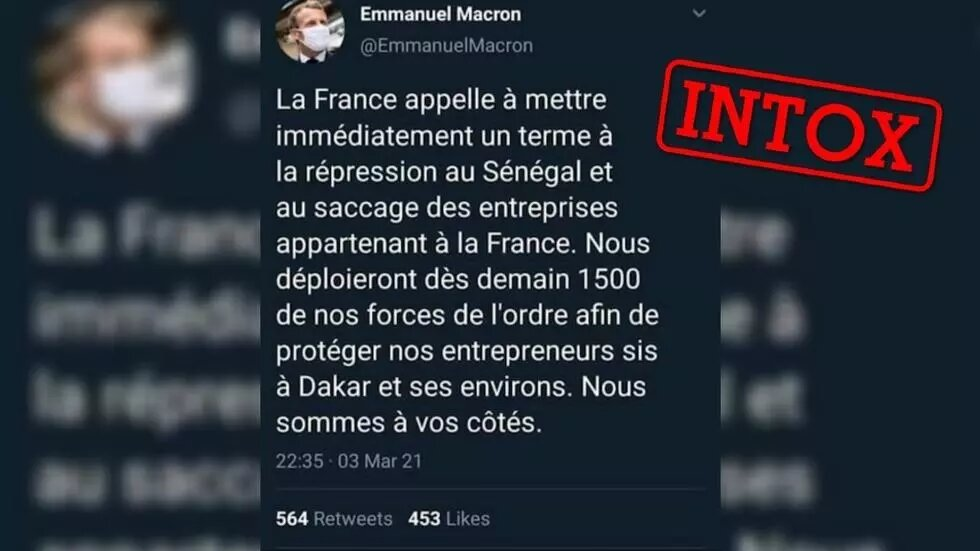 Ce tweet d'Emmanuel Macron sur le déploiement de militaires français au Sénégal est un faux