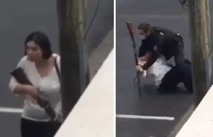 L'intervention impressionnante d'un gendarme qui prend par surprise une femme armée en France